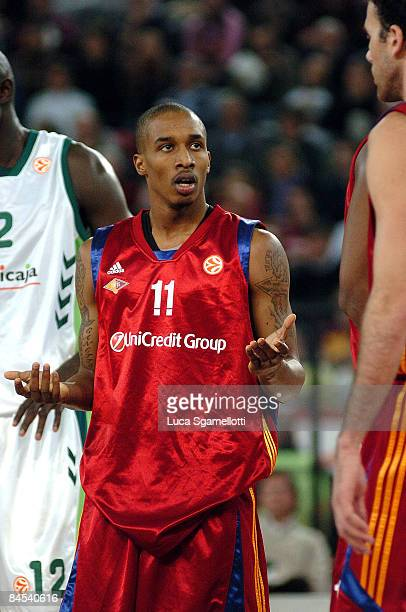 Brandon Jennings #11 of Lottomatica Roma looks on during the Euroleague Basketball Top 16 Game 1 match between Lottomatica Roma v Unicaja on January...