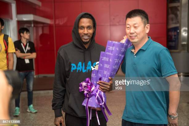 Brandon Jennings arrives at Taiyuan Wusu International Airport after signing with the Shanxi Fenjiu Basketball Club of CBA on September 15 2017 in...