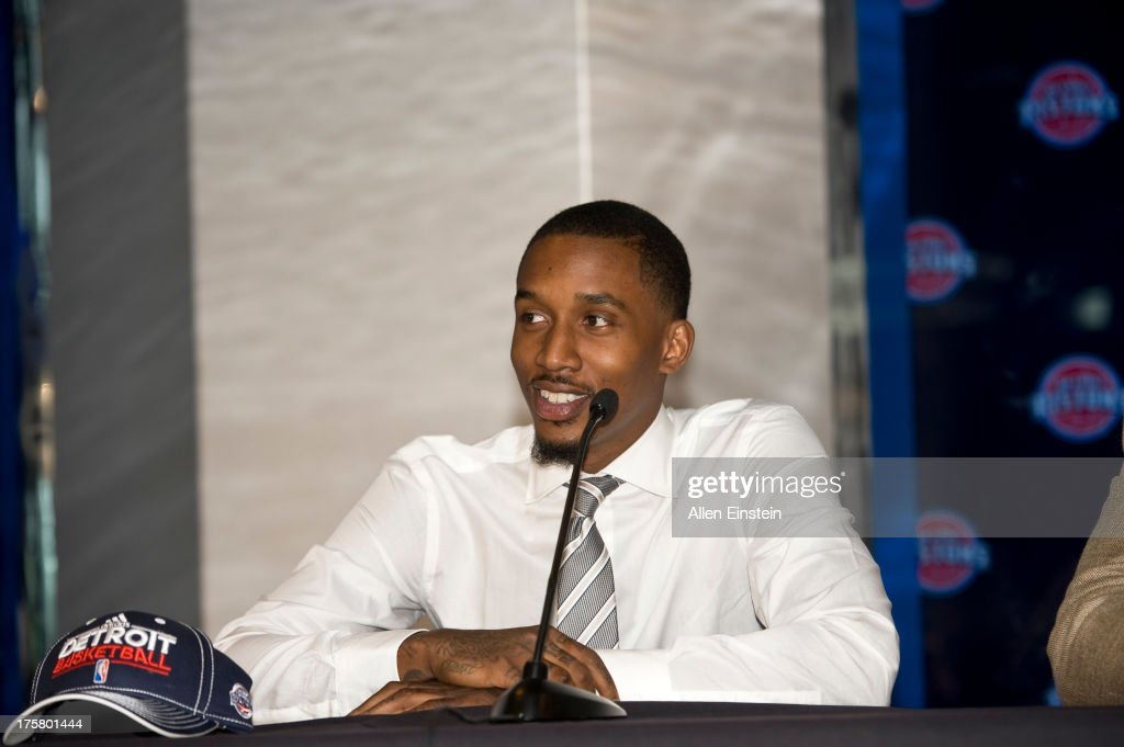 Brandon Jennings of the Detroit Piston speaks to the media at an introductory press conference on August 6, 2013 at Palace of Auburn Hills in Auburn Hills, Michigan.