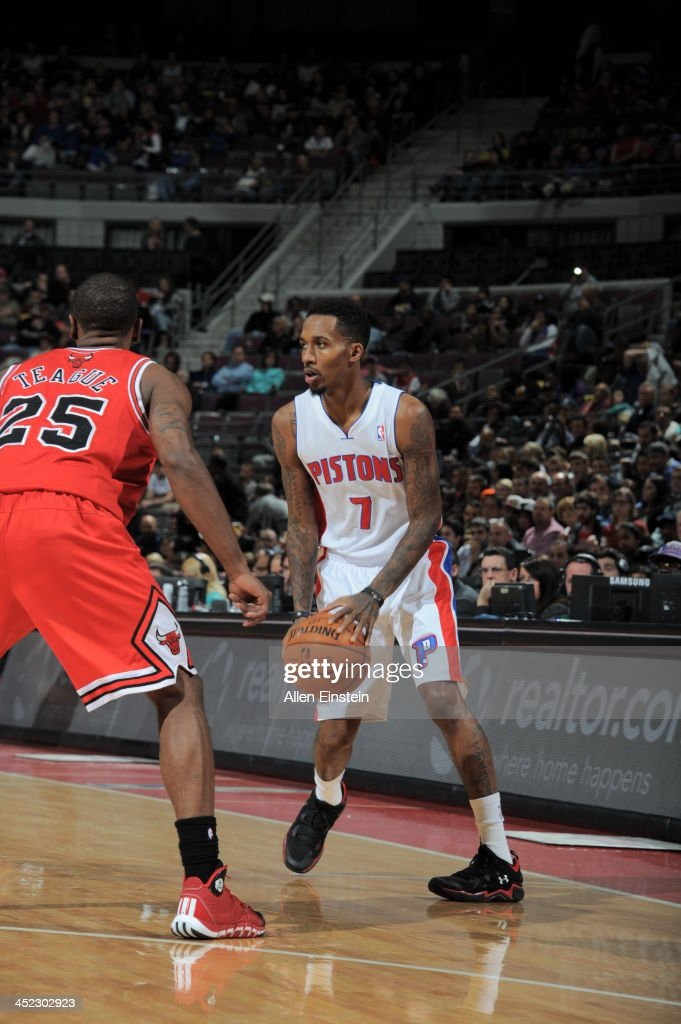 Brandon Jennings #7 of the Detroit Pistons controls the ball against the Chicago Bulls on November 27, 2013 at The Palace of Auburn Hills in Auburn Hills, Michigan.