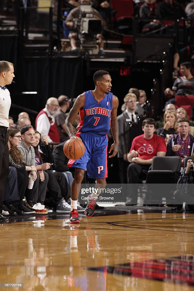Brandon Jennings #7 of the Detroit Pistons dribbles the ball against the Portland Trailblazers on November 11, 2013 at the Moda Center Arena in Portland, Oregon.