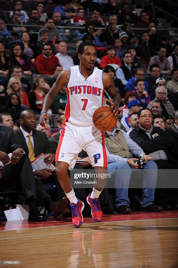 Brandon Jennings #7 of the Detroit Pistons dribbles the ball against the Chicago Bulls during the game on March 5, 2014 at The Palace of Auburn Hills in Auburn Hills, Michigan.