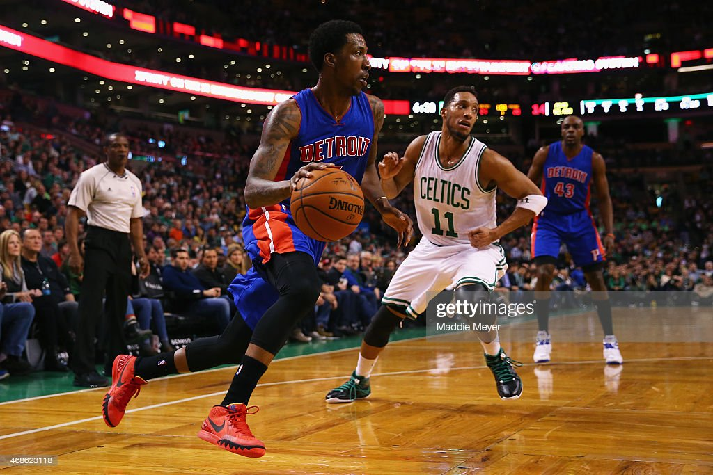 <a gi-track='captionPersonalityLinkClicked' href=/galleries/search?phrase=Brandon+Jennings+-+Basketballer&family=editorial&specificpeople=6022589 ng-click='$event.stopPropagation()'>Brandon Jennings</a> #7 of the Detroit Pistons drives against <a gi-track='captionPersonalityLinkClicked' href=/galleries/search?phrase=Evan+Turner&family=editorial&specificpeople=4665764 ng-click='$event.stopPropagation()'>Evan Turner</a> #11 of the Boston Celtics during the first quarter at TD Garden on March 22, 2015 in Boston, Massachusetts.
