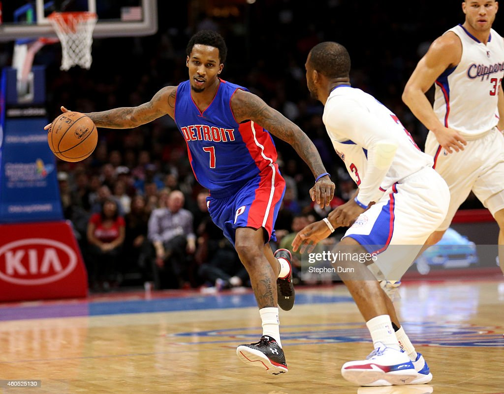 <a gi-track='captionPersonalityLinkClicked' href=/galleries/search?phrase=Brandon+Jennings+-+Basketballer&family=editorial&specificpeople=6022589 ng-click='$event.stopPropagation()'>Brandon Jennings</a> #7 of the Detroit Pistons drives against hris Paul #3 of the Los Angeles Clippers at Staples Center on December 15, 2014 in Los Angeles, California.