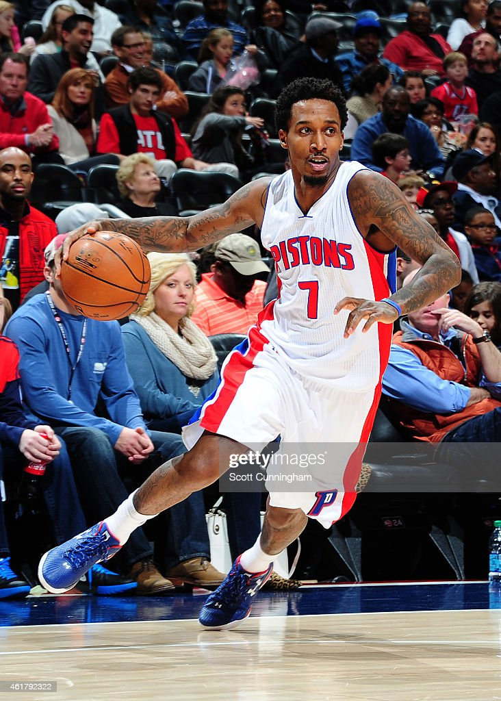 <a gi-track='captionPersonalityLinkClicked' href=/galleries/search?phrase=Brandon+Jennings+-+Basketball&family=editorial&specificpeople=6022589 ng-click='$event.stopPropagation()'>Brandon Jennings</a> #7 of the Detroit Pistons drives against the Atlanta Hawks on January 19, 2015 at Philips Arena in Atlanta, Georgia.