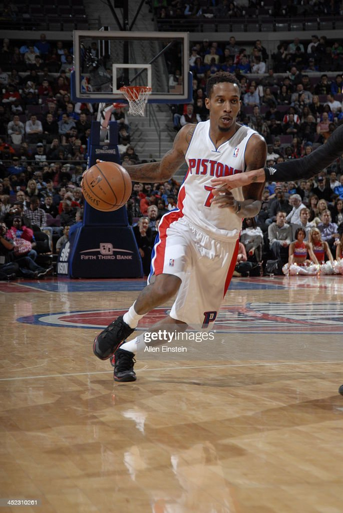 Brandon Jennings #7 of the Detroit Pistons drives against the Chicago Bulls on November 27, 2013 at The Palace of Auburn Hills in Auburn Hills, Michigan.