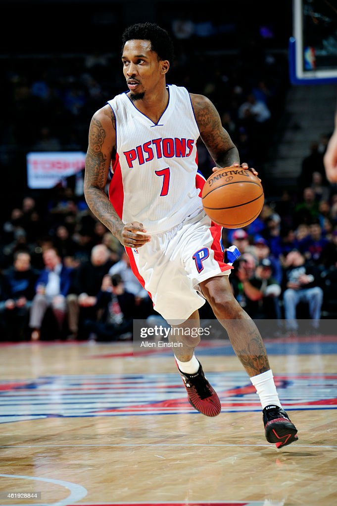 <a gi-track='captionPersonalityLinkClicked' href=/galleries/search?phrase=Brandon+Jennings+-+Basketball&family=editorial&specificpeople=6022589 ng-click='$event.stopPropagation()'>Brandon Jennings</a> #7 of the Detroit Pistons drives against the Orlando Magic on January 21, 2015 at The Palace of Auburn Hills in Auburn Hills, Michigan.