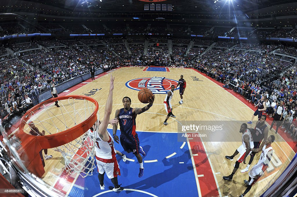 Brandon Jennings #7 of the Detroit Pistons goes up for a shot against the Toronto Raptors on April 13, 2014 at The Palace of Auburn Hills in Auburn Hills, Michigan.