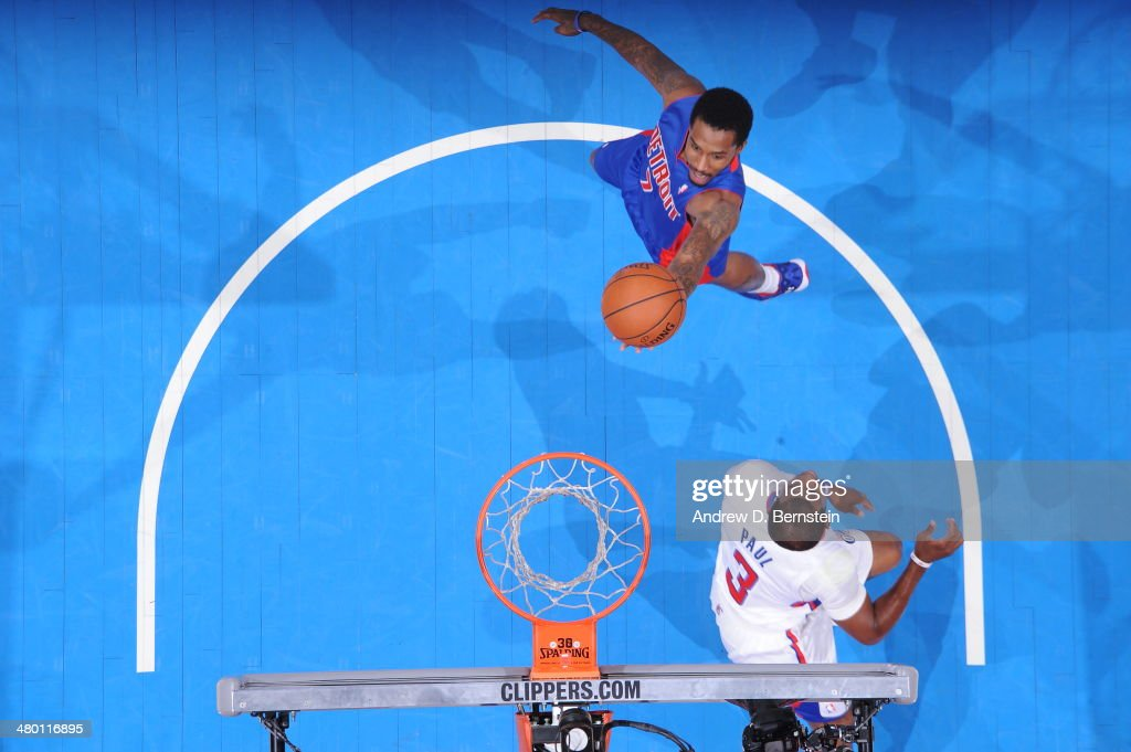 Brandon Jennings #7 of the Detroit Pistons goes up for a shot during a game against the Los Angeles Clippers at STAPLES Center on March 22, 2014 in Los Angeles, California.