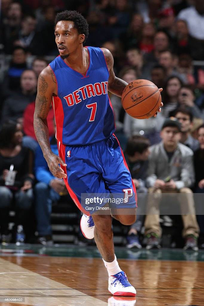 <a gi-track='captionPersonalityLinkClicked' href=/galleries/search?phrase=Brandon+Jennings+-+Basketballer&family=editorial&specificpeople=6022589 ng-click='$event.stopPropagation()'>Brandon Jennings</a> #7 of the Detroit Pistons handles the ball against the Milwaukee Bucks on January 24, 2015 at BMO Harris Bradley Center in Milwaukee, Wisconsin .