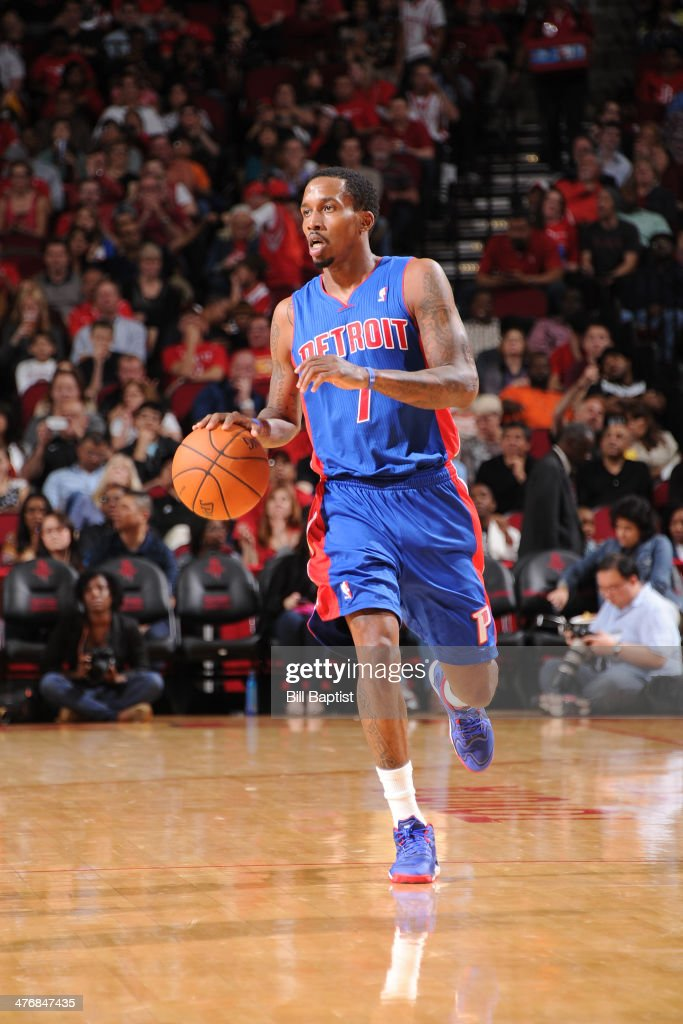 Brandon Jennings #7 of the Detroit Pistons handles the ball against the Houston Rockets on March 1, 2014 at the Toyota Center in Houston, Texas.