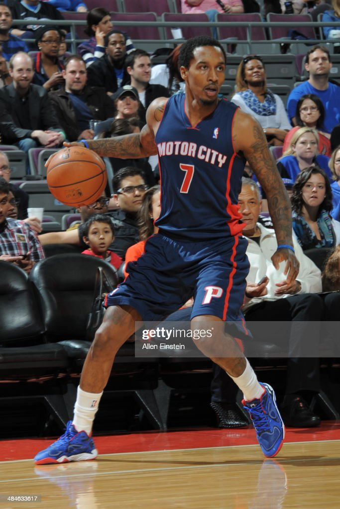 Brandon Jennings #7 of the Detroit Pistons handles the ball against the Toronto Raptors on April 13, 2014 at The Palace of Auburn Hills in Auburn Hills, Michigan.