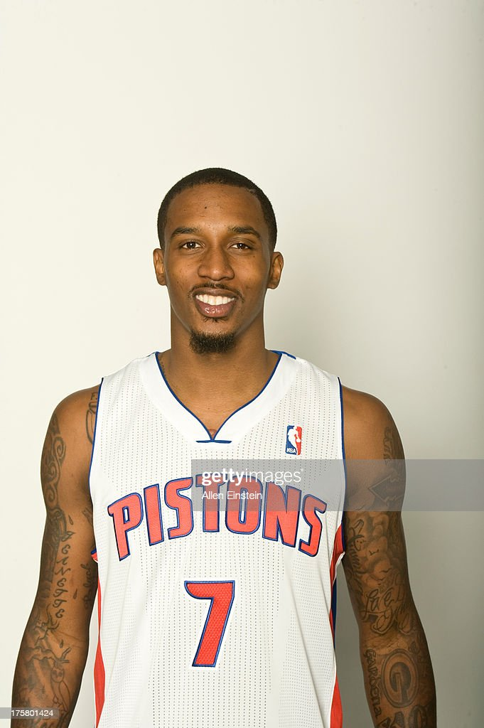 Brandon Jennings of the Detroit Pistons poses for a portrait at an introductory press conference on August 6, 2013 at Palace of Auburn Hills in Auburn Hills, Michigan.