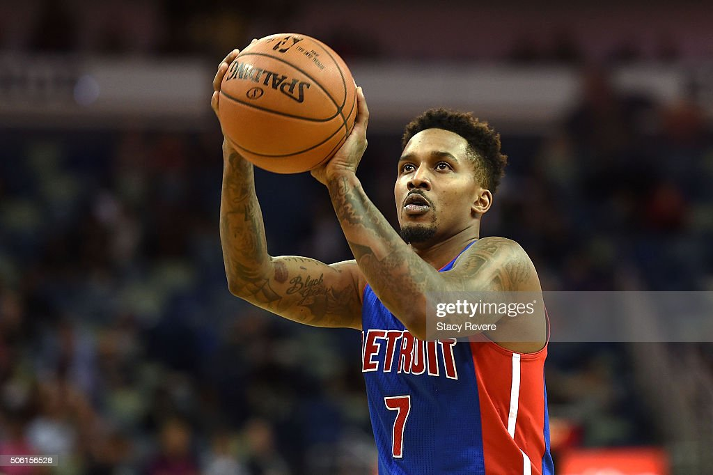 <a gi-track='captionPersonalityLinkClicked' href=/galleries/search?phrase=Brandon+Jennings+-+Basketballer&family=editorial&specificpeople=6022589 ng-click='$event.stopPropagation()'>Brandon Jennings</a> #7 of the Detroit Pistons shoots a free throw during the second half of a game against the New Orleans Pelicans at the Smoothie King Center on January 21, 2016 in New Orleans, Louisiana. The Pelicans defeated the Pistons 115-99.