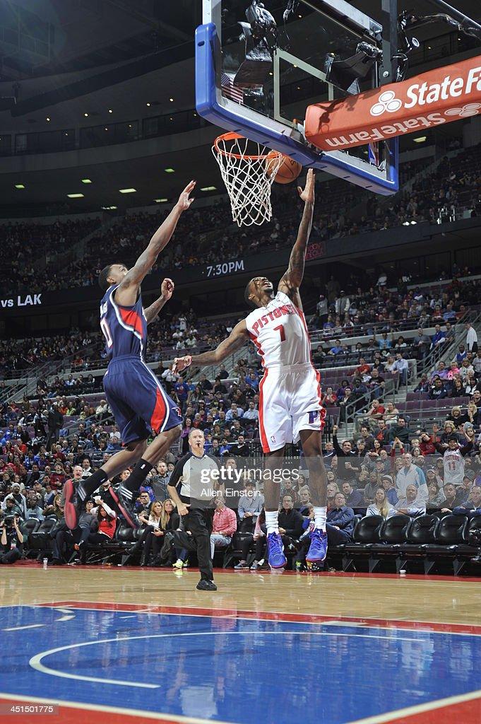 Brandon Jennings #7 of the Detroit Pistons shoots against the Atlanta Hawks on November 22, 2013 at The Palace of Auburn Hills in Auburn Hills, Michigan.