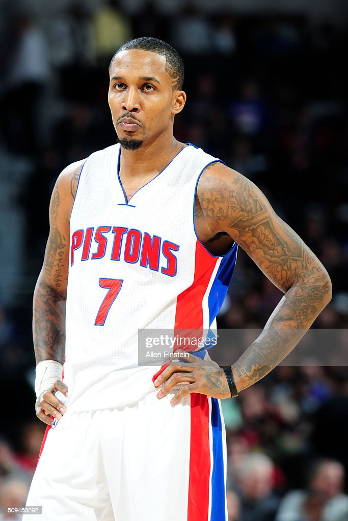 <a gi-track='captionPersonalityLinkClicked' href=/galleries/search?phrase=Brandon+Jennings+-+Basket&family=editorial&specificpeople=6022589 ng-click='$event.stopPropagation()'>Brandon Jennings</a> #7 of the Detroit Pistonsduring the game against the Denver Nuggets on February 10, 2016 at The Palace of Auburn Hills in Auburn Hills, Michigan.
