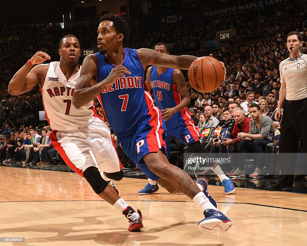 <a gi-track='captionPersonalityLinkClicked' href=/galleries/search?phrase=Brandon+Jennings+-+Basket&family=editorial&specificpeople=6022589 ng-click='$event.stopPropagation()'>Brandon Jennings</a> #7 of the Detrot Pistons handles the ball against the Toronto Raptors on January 12, 2015 at the Air Canada Centre in Toronto, Ontario, Canada.