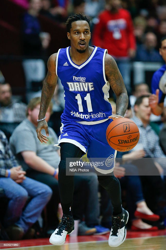 Brandon Jennings of the Grand Rapids Drive brings the ball up court against the Iowa Energy during the first half of an NBA DLeague game on December...