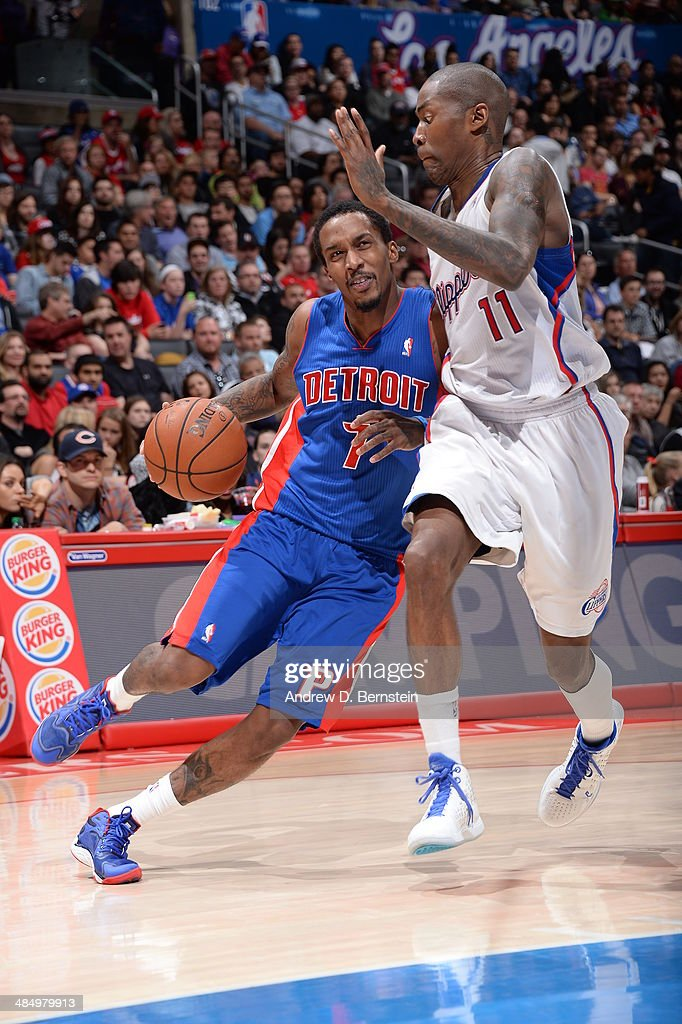 Brandon Jennings #7 of the Los Angeles Clippers drives to the basket against the Detroit Pistons at STAPLES Center on March 22, 2014 in Los Angeles, California.