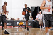 Brandon Jennings of the Milwaukee Bucks brings the ball upcourt against the Chicago Bulls during NBA Summer League presented by EA Sports on July 15...