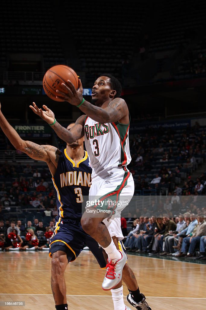 Brandon Jennings #3 of the Milwaukee Bucks drives to the basket against George Hill #3 of the Indiana Pacers during the NBA game on November 14, 2012 at the BMO Harris Bradley Center in Milwaukee, Wisconsin.