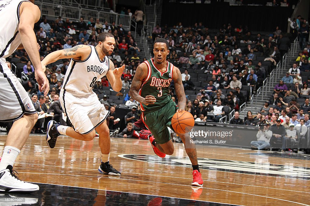 Brandon Jennings #3 of the Milwaukee Bucks drives to the basket against the Brooklyn Nets on February 19, 2013 at the Barclays Center in the Brooklyn borough of New York City.