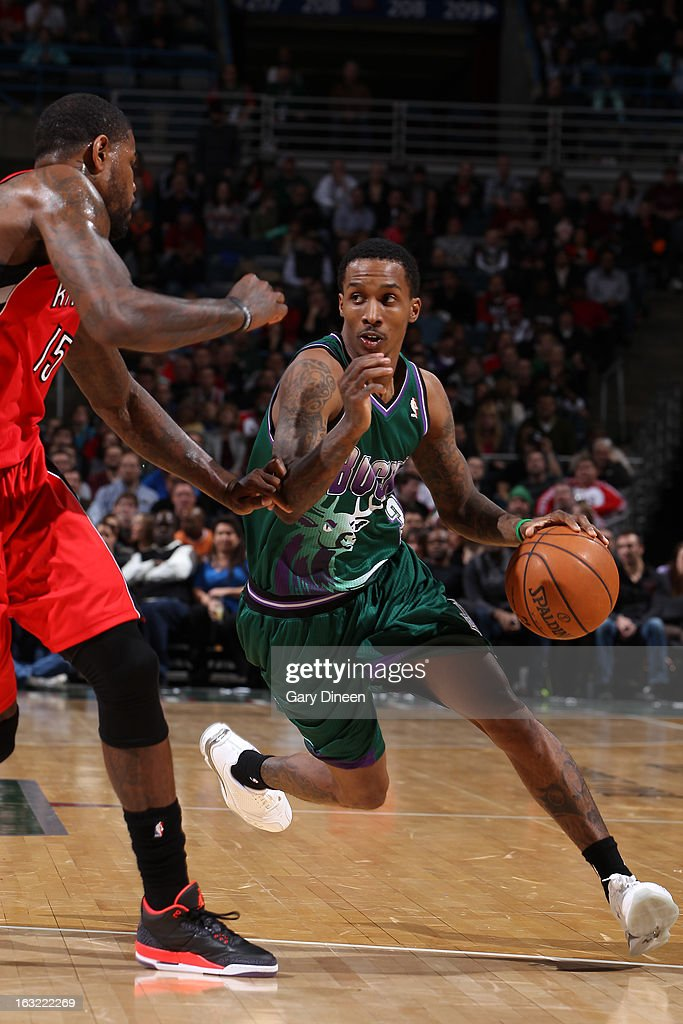 Brandon Jennings #3 of the Milwaukee Bucks drives to the basket against the Toronto Raptors on March 2, 2013 at the BMO Harris Bradley Center in Milwaukee, Wisconsin.