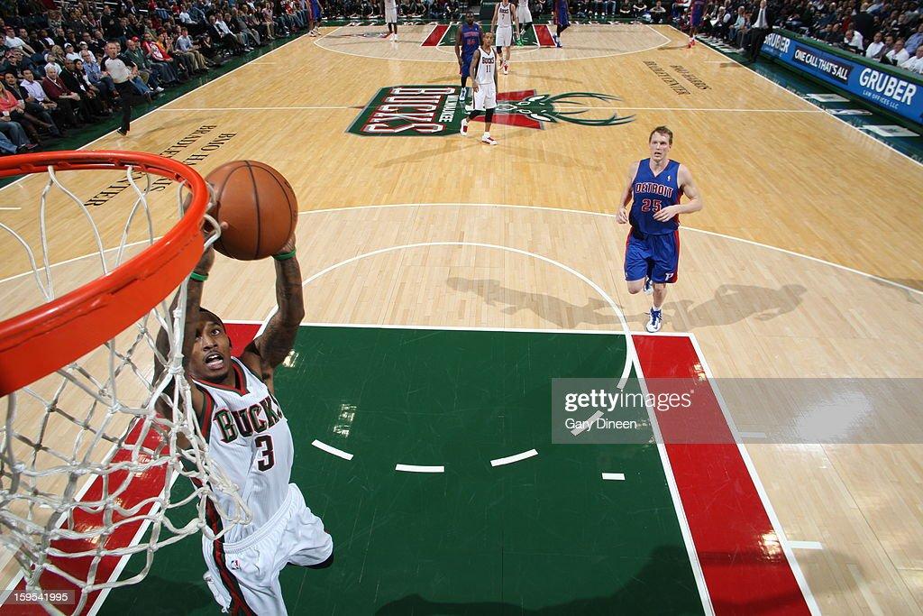 Brandon Jennings #3 of the Milwaukee Bucks dunks the ball against the Detroit Pistons on January 11, 2013 at the BMO Harris Bradley Center in Milwaukee, Wisconsin.