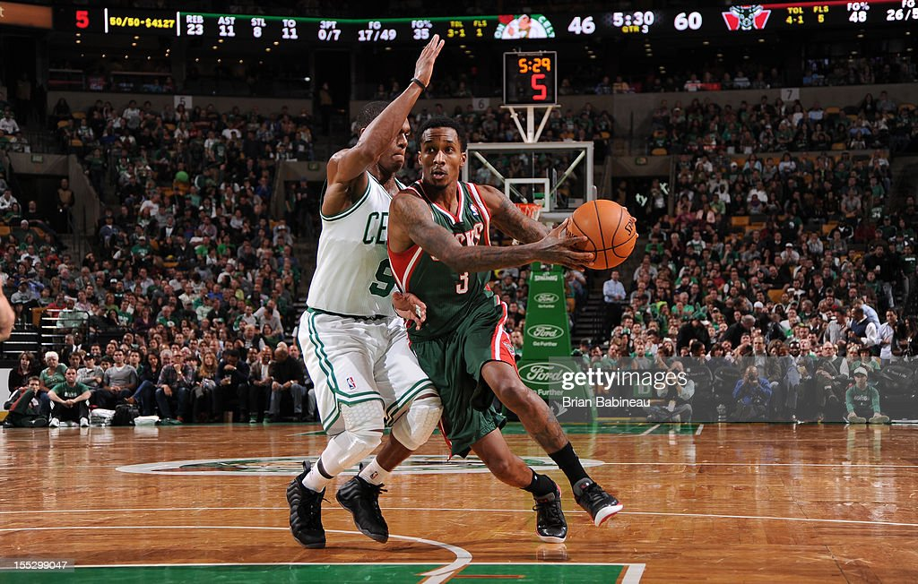 Brandon Jennings #3 of the Milwaukee Bucks handles the ball against <a gi-track='captionPersonalityLinkClicked' href=/galleries/search?phrase=Rajon+Rondo&family=editorial&specificpeople=206983 ng-click='$event.stopPropagation()'>Rajon Rondo</a> #9 of the Boston Celtics on November 2, 2012 at the TD Garden in Boston, Massachusetts.