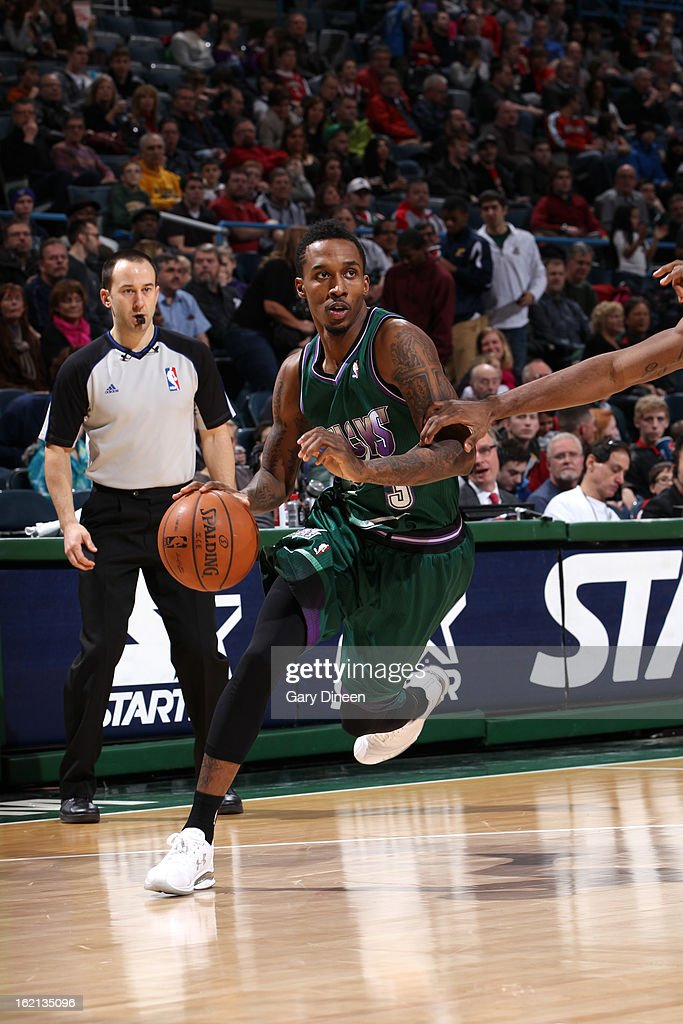 Brandon Jennings #3 of the Milwaukee Bucks handles the ball against the Orlando Magic on February 2, 2013 at the BMO Harris Bradley Center in Milwaukee, Wisconsin.