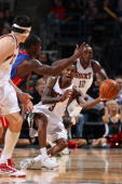 Brandon Jennings of the Milwaukee Bucks passes the ball upcourt after a steal against Rodney Stuckey of the Detroit Pistons on October 31 2009 at the...