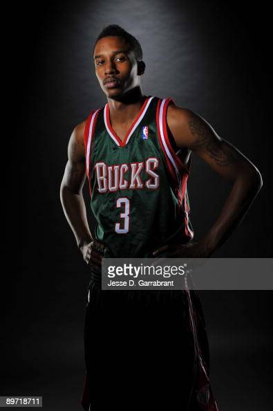 Brandon Jennings of the Milwaukee Bucks poses for a portrait during the 2009 NBA Rookie Photo Shoot on August 9 2009 at the MSG Training Facility in...