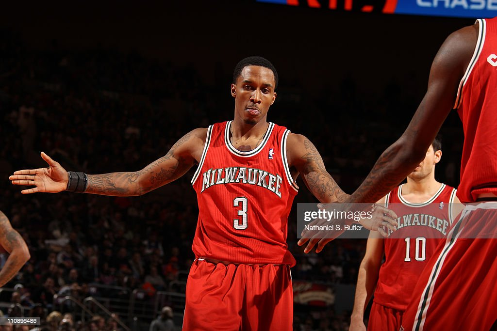 <a gi-track='captionPersonalityLinkClicked' href=/galleries/search?phrase=Brandon+Jennings+-+Basketballer&family=editorial&specificpeople=6022589 ng-click='$event.stopPropagation()'>Brandon Jennings</a> #3 of the Milwaukee Bucks reacts against the New York Knicks on March 25, 2011 at Madison Square Garden in New York City.