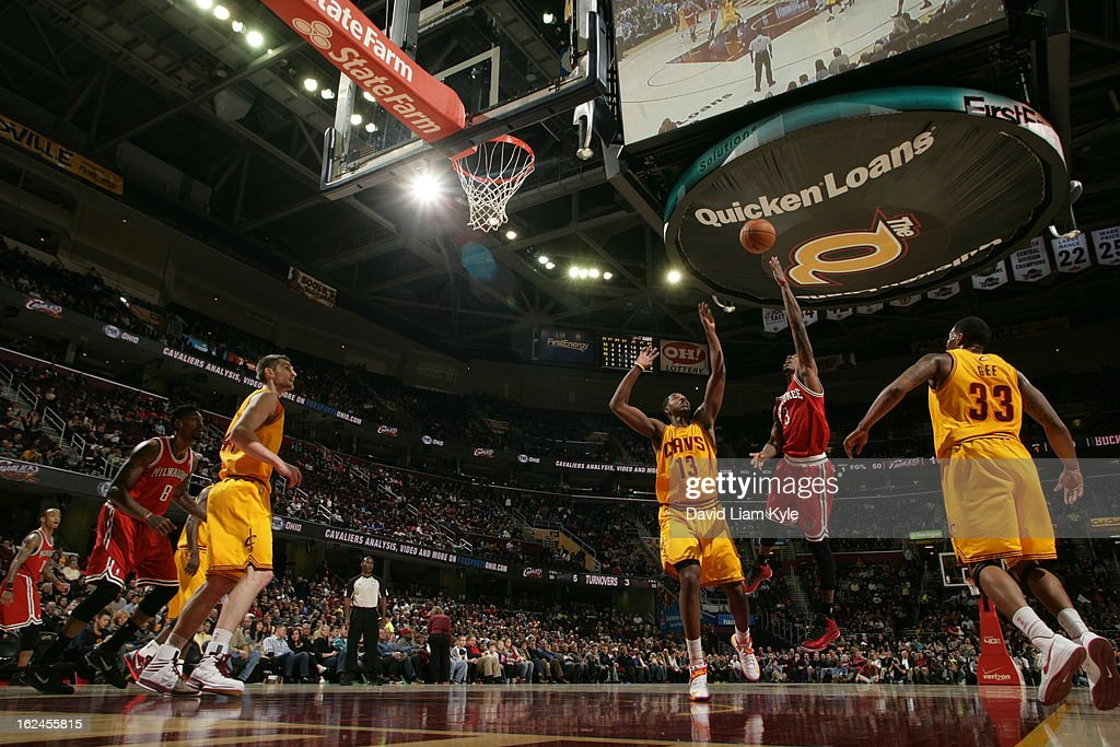 Brandon Jennings #3 of the Milwaukee Bucks shoots a hookshot against <a gi-track='captionPersonalityLinkClicked' href=/galleries/search?phrase=Tristan+Thompson&family=editorial&specificpeople=5799092 ng-click='$event.stopPropagation()'>Tristan Thompson</a> #13 of the Cleveland Cavaliers at The Quicken Loans Arena on January 25, 2013 in Cleveland, Ohio.