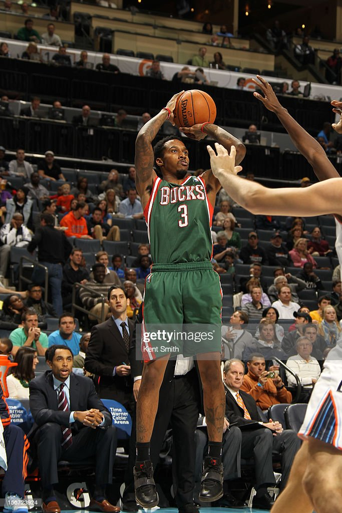 Brandon Jennings #3 of the Milwaukee Bucks shoots against the Charlotte Bobcats at the Time Warner Cable Arena on November 19, 2012 in Charlotte, North Carolina.