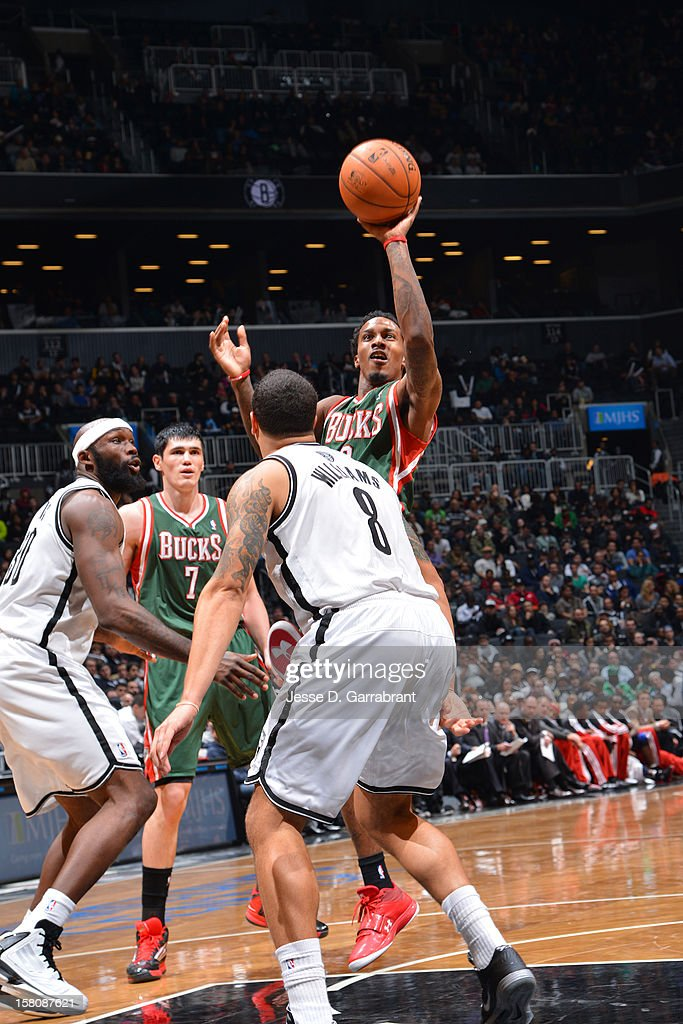 Brandon Jennings #3 of the Milwaukee Bucks takes a shot against the Brooklyn Nets on December 9, 2012 at the Barclays Center in Brooklyn, New York.