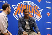 Brandon Jennings of the New York Knicks is interviewed during a press conference at the Madison Square Garden Training Facility on July 8 2016 in...