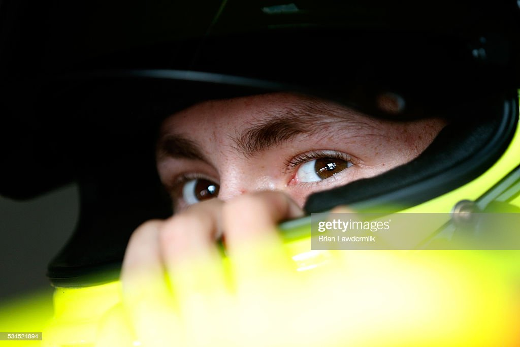 Brandon Jones, driver of the #33 Barrett-Jackson/Menards Chevrolet, sits in his car during practice for the NASCAR XFINITY Series Hisense 4K TV 300 at Charlotte Motor Speedway on May 27, 2016 in Charlotte, North Carolina.