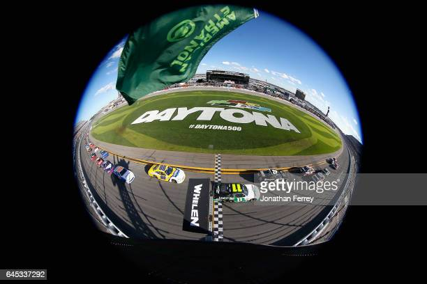Brandon Jones driver of the Nexteer Automotive Chevrolet leads the field past the green flag to start the NASCAR XFINITY Series PowerShares QQQ 300...