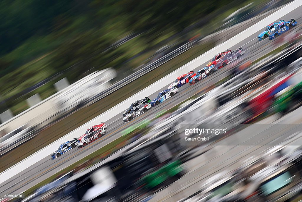 Brandon Jones, driver of the #33 Okuma Chevrolet, leads the field during the NASCAR XFINITY Series Sparks Energy 300 at Talladega Superspeedway on April 30, 2016 in Talladega, Alabama.