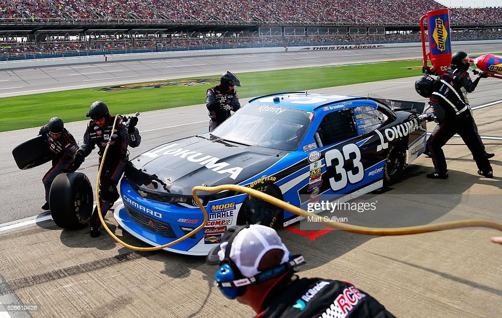 Brandon Jones, driver of the #33 Okuma Chevrolet, pits during the NASCAR XFINITY Series Sparks Energy 300 at Talladega Superspeedway on April 30, 2016 in Talladega, Alabama.