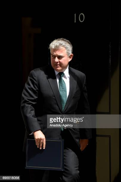 Brandon Kenneth Lewis departs Downing Street on June 13 2017 in London United Kingdom The Prime Minister has reshuffled her cabinet after the snap...