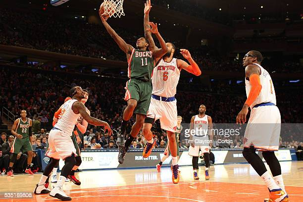 Brandon Knight Milwaukee Bucks drives to the basket during the New York Knicks vs Milwaukee Bucks NBA Basketball game at Madison Square Garden New...