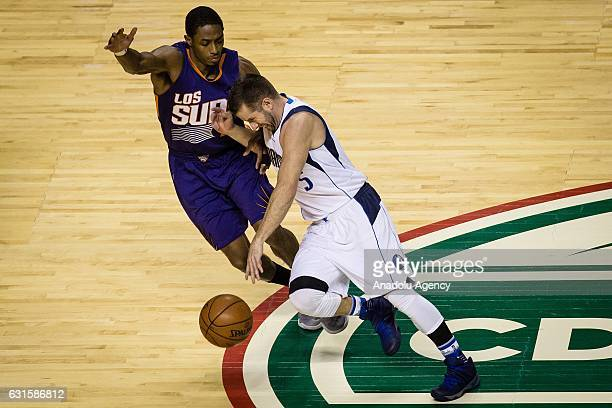 Brandon Knight of Phoenix Suns struggle for the ball against Jose Juan Berea of Dallas Mavericks during the NBA Game Mexico City between Phoenix Suns...