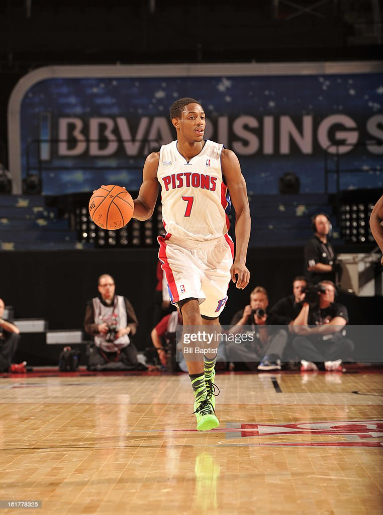 Brandon Knight #7 of Team Chuck dribbles up the court against Team Shaq during the 2013 BBVA Rising Stars Challenge on February 15, 2013 at Toyota Center in Houston, Texas.