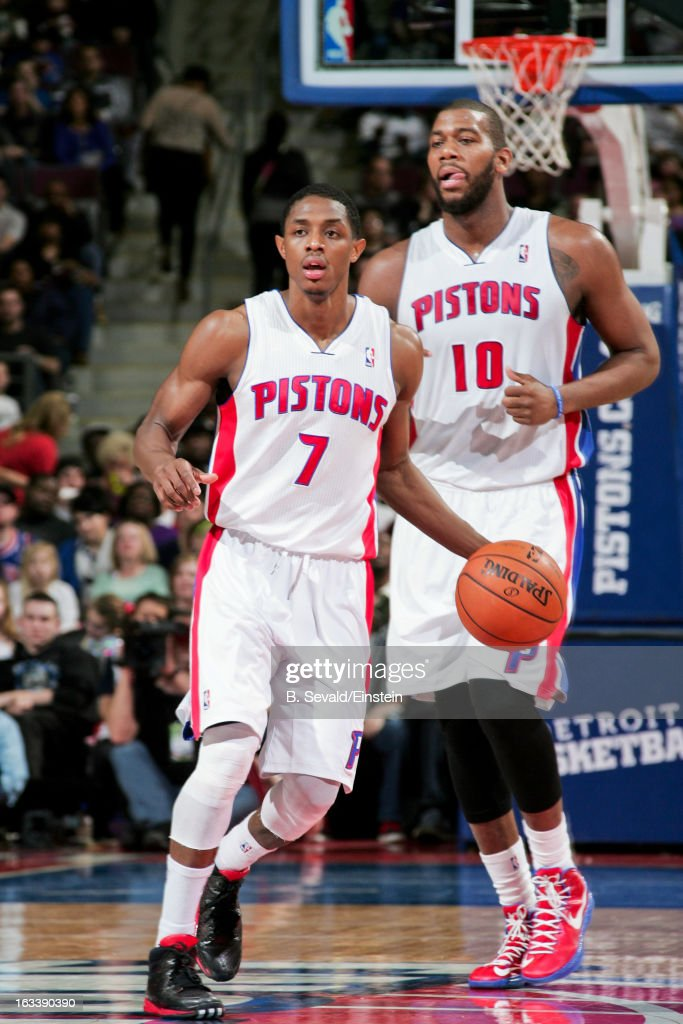 Brandon Knight #7 of the Detroit Pistons advances the ball with teammate Greg Monroe #10 against the Dallas Mavericks on March 8, 2013 at The Palace of Auburn Hills in Auburn Hills, Michigan.