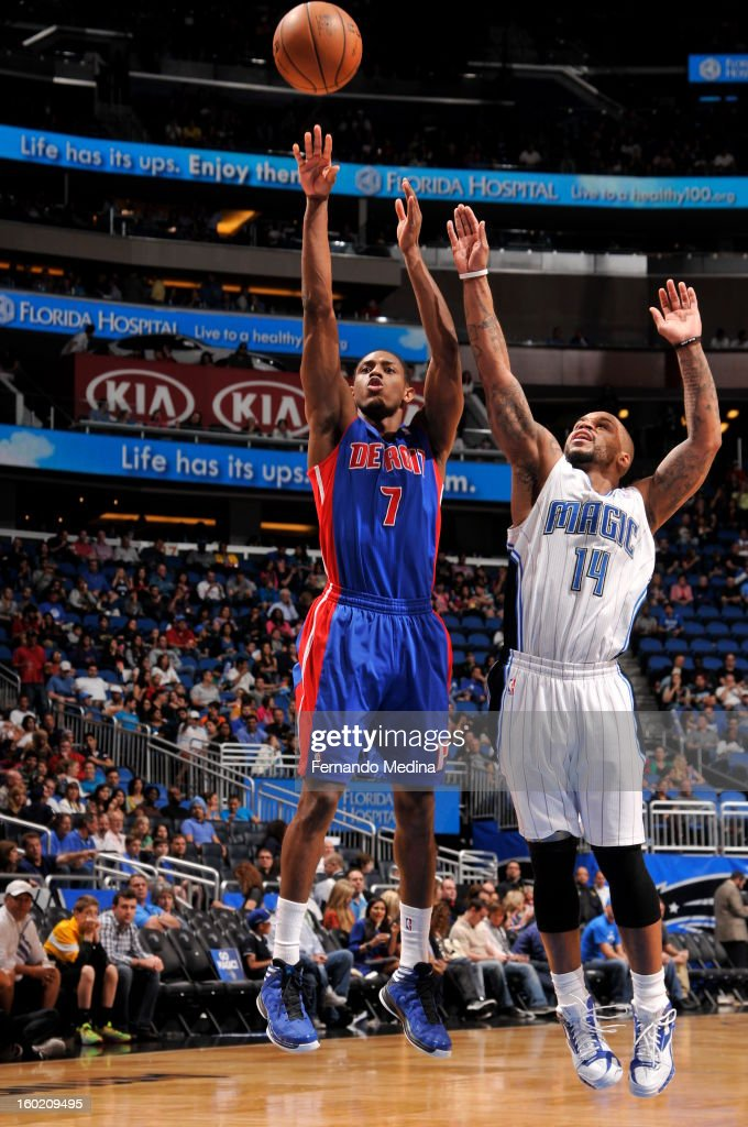 Brandon Knight #7 of the Detroit Pistons and Jameer Nelson #14 of the Orlando Magic battle for the ball control during the game between the Detroit Pistons and the Orlando Magic on January 27, 2013 at Amway Center in Orlando, Florida.