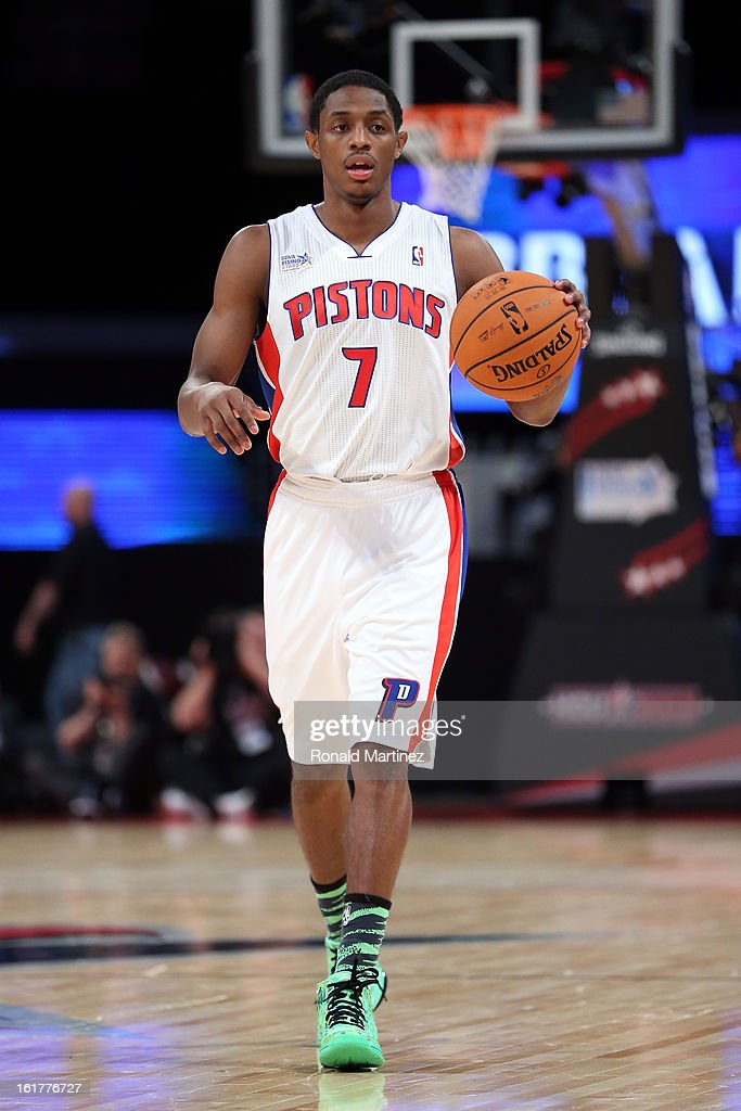 Brandon Knight #7 of the Detroit Pistons and Team Chuck moves the ball in the BBVA Rising Stars Challenge 2013 part of the 2013 NBA All-Star Weekend at the Toyota Center on February 15, 2013 in Houston, Texas.