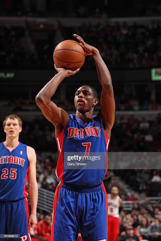 Brandon Knight #7 of the Detroit Pistons attempts a foul shot against the Chicago Bulls on January 23, 2012 at the United Center in Chicago, Illinois.