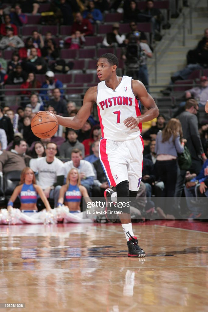 Brandon Knight #7 of the Detroit Pistons brings the ball up court during the game between the Detroit Pistons and the Atlanta Hawks on March 6, 2013 at The Palace of Auburn Hills in Auburn Hills, Michigan.